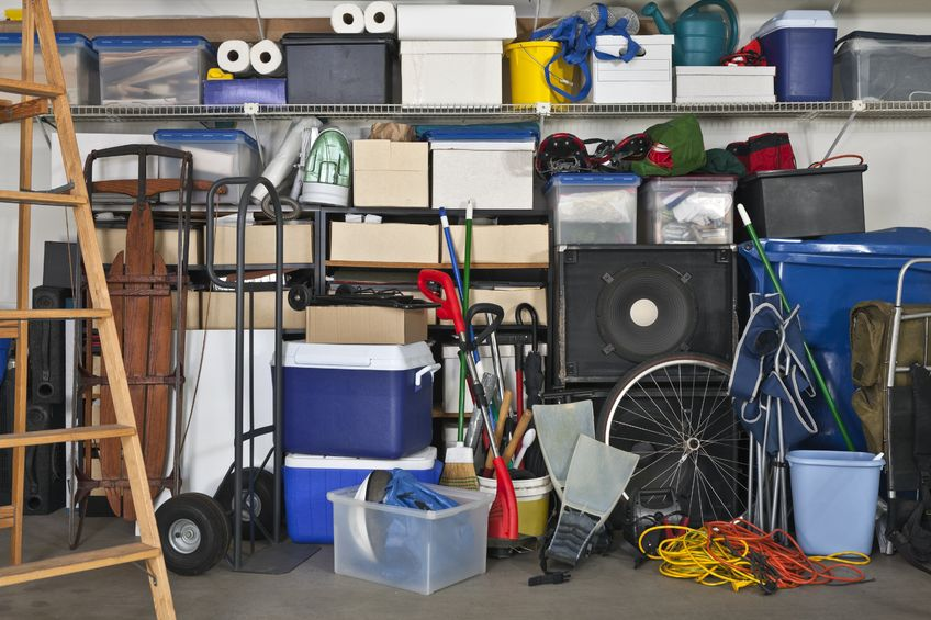 unorganized garage interior